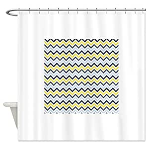 CafePress Navy Light Blue Yellow Gray Chevron Pattern 3 Sh Show