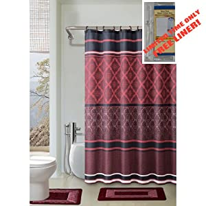 15-Piece Bathroom Accessory Set 2 Bath Mats Shower Curtain /& 12 Rings ^Jasmine