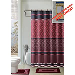 Burgundy black red 4 piece bathroom set 2 for Red and black bathroom accessories sets