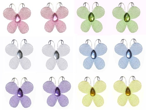 """1"""" Pink Purple Yellow Blue Green White Mini (X-Small) Glitter Butterfly Butterflies 12pc set nylon ceiling wall baby nursery room wedding decor decoration girls bedroom party shower favor"""