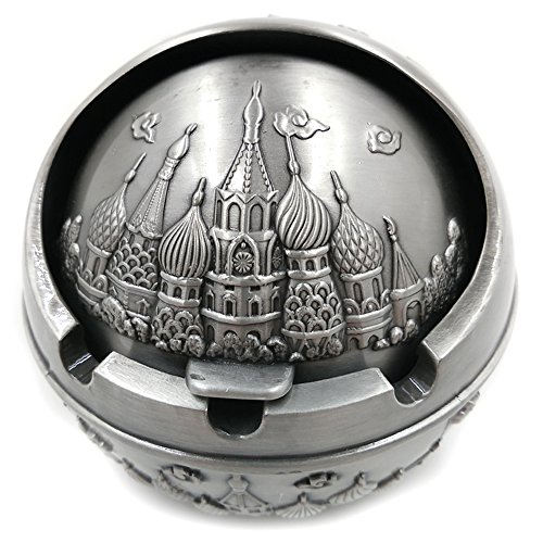 Tripolar Portable Cigarette Cigar Ashtray Antique Sophisticated Engraved Embossing Europe Wind-proof Art Decorative Ash Holder Table Home Bar Decor - As Fantasy Gifts for Men Smokers,Castle&Sliver