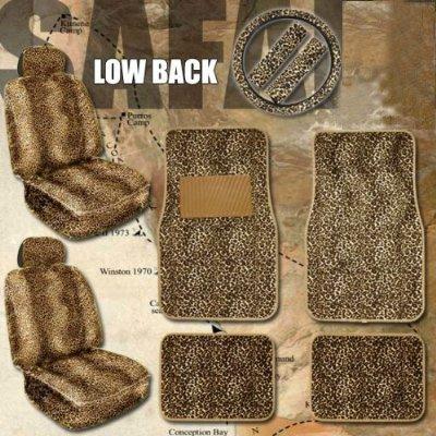 11pc Safari Leopard Car Mats Seat Steering Wheel Cover Set