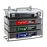 Handymans Dream Hardware Assortment - Giant 1,200pc Nut Bolt Washer Storehouse SAE & Metric - 4 Organizer Cases - Bench Stand or Wall-Mount