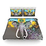 "Kess InHouse Geordanna Cordero-Fields ""My Elephant with Headdress"" Gray Rainbow King Cotton Duvet Cover, 104 by 88-Inch"