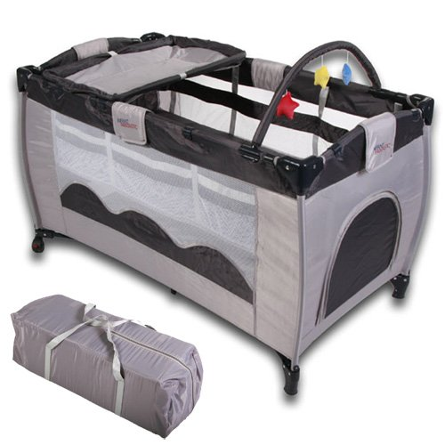 Baby bed travel cot furniture cribs portable child bed with toys entryway 0-36 months Gray Grey