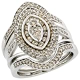 14k White Gold 3-Piece Marquise-shaped Diamond Ring Set, w/ 1.00 Carat Illusion Set Brilliant Cut Diamonds, 7/8 in. (22mm) wide