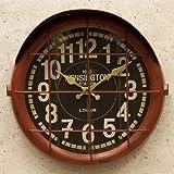 アンティーク クロック サブマリン(潜水艦)レトロ調 ビンテージ クロック 壁掛け時計 時計 アメリカン雑貨 アメ雑貨 アメリカ (レッド)