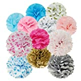 "Allydrew 12"" & 8"" Set of 5 Tissue Pom Poms Party Decorations for Weddings, Birthday Parties Baby Showers and Nursery Décor"