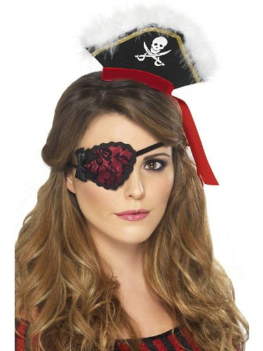Adult Lady Pirate Eyepatch Red