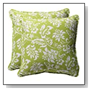 Decorative Green Floral Square Toss Pillows