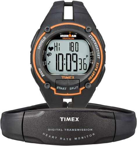 Image of Timex Ironman® Road Trainer with Digital Heart Rate Monitor Men's Black/Orange (B0069WOEUU)