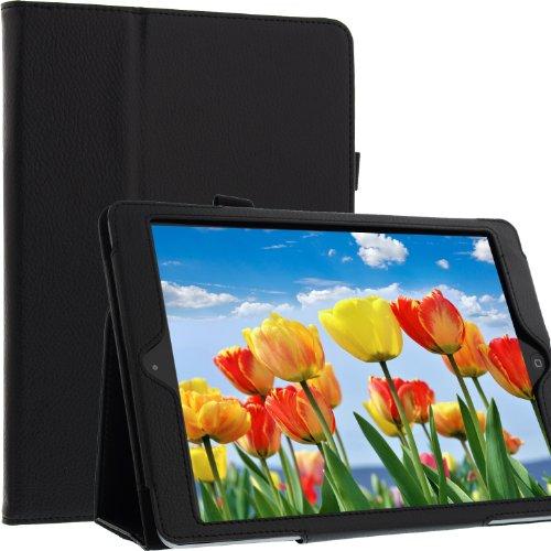 subtel® Smart Case für Apple iPad Air 1 Kunstleder Tasche mit Standfunktion Flip Cover Schutzhülle Etui schwarz (A1460/A1474)
