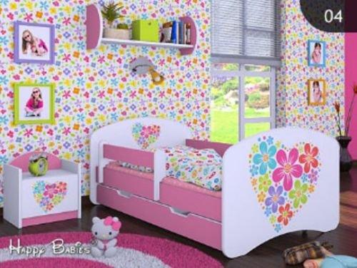 """Kinderbett """" BLUMENHERZ """" mit Matratze und Bettkasten 160/80 cm – NEU"""