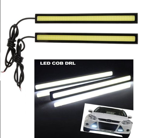 Lemonbest® 2 Pcs Set General 12V Waterproof Aluminum High Power 6000K Cool White Slim Cob Led Drl Bar Daylight Driving Daytime Running Light Lamp For Car Vehicle (Black Case)