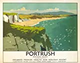 Northern Irish Travel Art Poster, Portrush, Northern Ireland, Ireland Premier Health and Holiday Resort