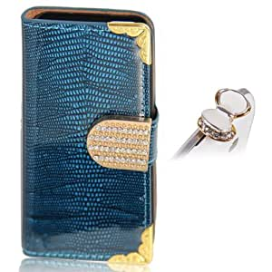 Uming Brillant de crocodile en cuir pour Samsung Galaxy S4 I9500 I9505 lisse cuir PU cas de chiquenaude de modèle de livre avec strass Bling d'or de carte de crédit fente Wallet Shell Housse de protection sac de couverture de Bling Glitter Fermeture magnétique Belt + 1 * Anti prise de la poussière (Bleu)