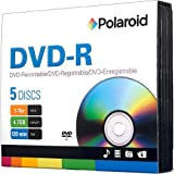 Polaroid PRDVDR0005J DVD-R 4.7GB 120-Minute 16x Recordable DVD Disc, 5-Pack Slim Case