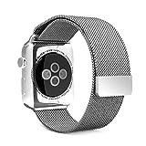 AmanStino アップルウォッチ バンド Apple watchベルト マグネット式 ステンレス アップルウォッチ ベルト(38mmシルバー)