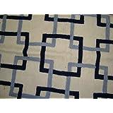 Crewel Pillow Interlaced Squares Bright Blues On Black Cotton D (20X20)