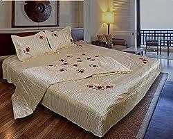 Rangsthali Designer home dcor Diwali offer Embroidery Double Bed Wedding Bedding set ( Set of 4 pcs)