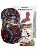 Opal 4ply Yarn Sock Knitting Kit Wool DPNs Stitch Markers Pattern 8882