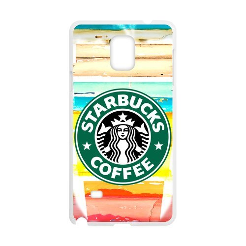 Custom Phone Shell Starbucks Coffee Crack Woodgrain Background Colorful Art Case For Samsung Galaxy Note4 (Laser Technology)