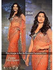 Fabboom New Deepika Padukone In Gorgeous Orange Saree