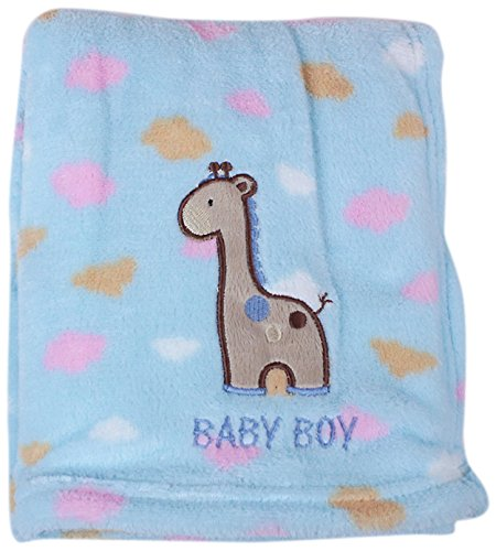 My Baby Giraffe in The Clouds Design Plush Blanket, Blue
