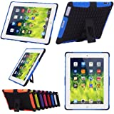 TKOOFN Heavy Duty Silicon Defender Multilayer Protective Skin Military Bumper Antislip Case Cover Built in Stand for Apple iPad 2 / iPad 3 (The New iPad) / iPad 4 (iPad with Retina Display) + Screen Protector + Stylus + Cleaning Cloth, Blue - PT7102