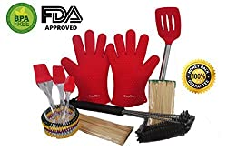 CoolKo 10 in 1 BBQ Grill Gift Set?2 Heat Resistant Silicone BBQ Oven Gloves?18' Stainless steel 3 Wire Grill Brushes in 1?3 Heat Resistant Silicone Pastry Brushes and 4 Special Bonus