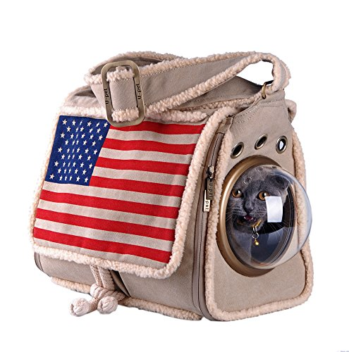 U-pet Hands-free Pet Sling Carrier Bag Travel Tote Soft Comfortable Pouch Shoulder Carry Tote Handbag (Flag)