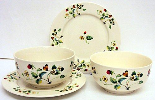Fraises et papillons Bol et assiette de petit déjeuner en céramique Crème/pâtes/riz de décoré à la main au Royaume-Uni Livraison gratuite au Royaume-Uni
