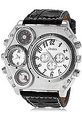 Rayshop - Men's Big Case Dual Time Zones Leather Band Quartz Wrist Watch (Assorted Colors) ( Color : Silver )