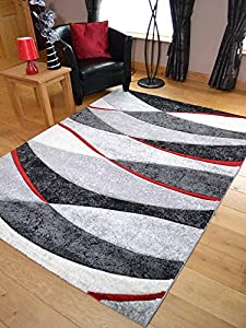 Tempo Black And Red Wave Thick Quality Modern Carved Rugs. Available in 7 Sizes (200cm x 300cm) from Rugs Supermarket