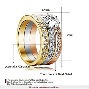 Yoursfs Fashion 18k Gold Plated Trinity Rings Use Austrian Crystal Rhinestone Wedding and Engagement Ring (7) by Italina