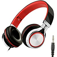 Sound Intone Ms200 2015 New Stereo Foldable Headphones, Over-ear, noise cancelling, light weight, for Smartphones/ Mp3/4 Players/ Laptops/ Computers/ Tablet/ iphone/ samsung/ Ipod/ Andriod/ HTC (Black/Red)