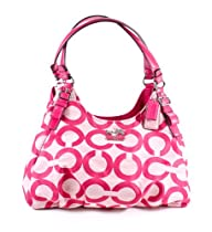Hot Sale NEW AUTHENTIC COACH MADISON SHANTUNG OP ART MAGGIE (Fuschia/Silver)