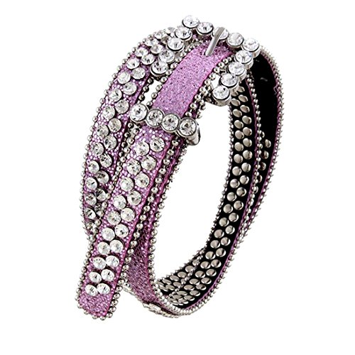 Pink Skinny Rhinestone Studded Genuine Leather Belt, M/L