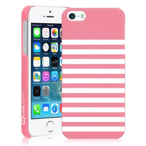 CaseCrown Monaco Stripes Snap On Case (Peony Pink) for Apple iPhone 5 \ 5s