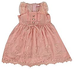 Party Princess Girls' Party Dress (8808P-5/6, Peach , 5-6 Years)
