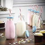 VonShef Set of 6 Retro/Vintage 10-Oz Milk Bottle Drinking Glass Set with Reusable Straws & Lids