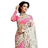 SareeShop Pink Color Chiffon Embroidered Party Wear Saree with Blouse Piece(ZoyaPink_PINK)