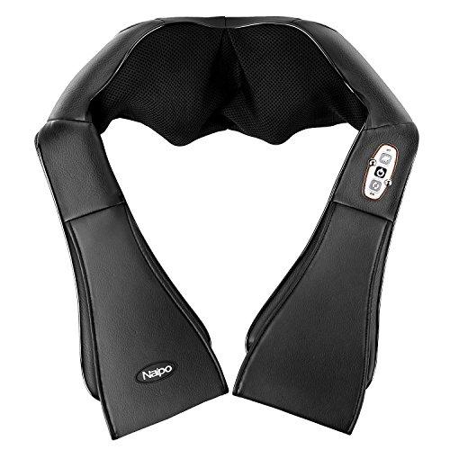 Naipo Massaggiatore Schiena Cuscino Cervicale Shiatsu con Funzione Calore Massager Kneading Profondo Impastamento del Collo e Spalle - Nero