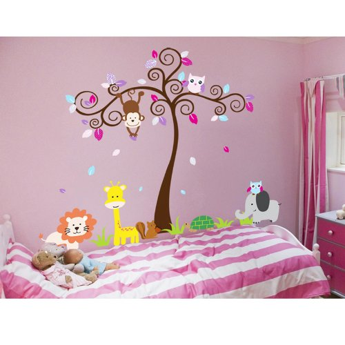 Mzy Llc (Tm) Super Large Animal Zoo Monkey Owl Tree Elephant Lion Nursery Wall Sticker Stickers Decals For Kids Children'S Wall Décor Art Sticker Decals
