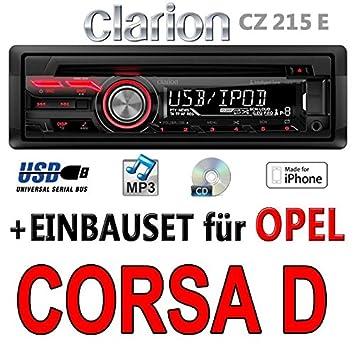 Opel corsa d (noir)-clarion cZ215E-autoradio mP3/uSB avec kit de montage