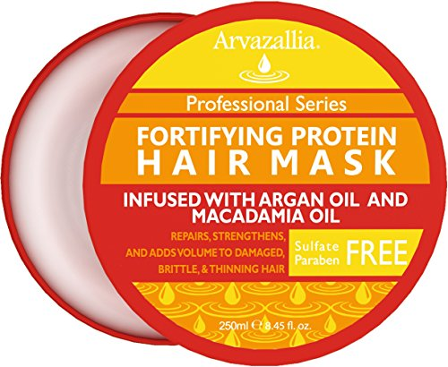 Fortifying Protein Hair Mask and Deep Conditioner with Argan Oil and Macadamia Oil By Arvazallia - Hair Repair Treatment for Damaged , Brittle , or Thinning Hair - Promotes Natural Hair Growth (Deep Conditioner Wheat compare prices)