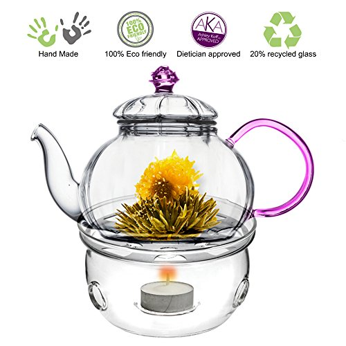 Tea Beyond Teapot Juliet with Tea Warmer Cozy (Pink Glass Teapot compare prices)