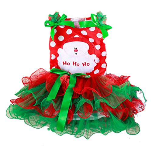 KMFEEL Strawberry Cartoon Baby Girl Christmas Dress Santa Party Chiffon Tutu 2T-6T