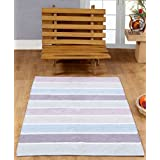 Homescapes   100% Cotton Chenille Stripe Rug   Blue Beige Purple Heather Grey Natural Stripes   60 x 100 cm   Washable at Home   Kids Room or Large Bath Matby Homescapes