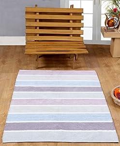 Homescapes waschbarer Chenille Streifen Teppich Vorleger 60 x 100 cm aus 100% reiner Baumwolle, Farbkombination: blau, beige, lila, grau und natur, pflegeleicht und strapazierfähig.